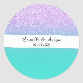 Sticker Rond Ombre Girly de turquoise de scintillement de