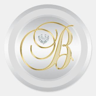 Sticker Rond Or argenté élégant unique 'B initial décoré d'un