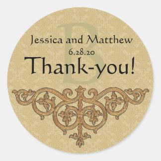 Sticker Rond Or d'étiquette de Merci de faveur de mariage