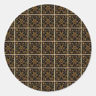 Sticker Rond Or d'or nucléaire atomique d'atome NANO de