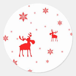 Sticker Rond Orignaux rouges et flocons de neige rouges -