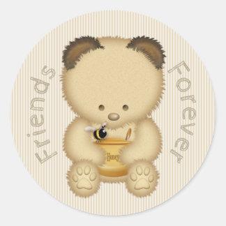 Sticker Rond Ours de miel mignon de meilleurs amis