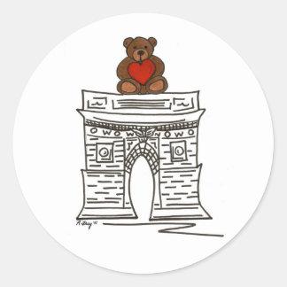 Sticker Rond Ours de nounours carré de voûte de NYC Valentine