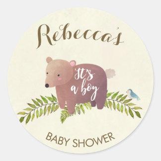 Sticker Rond ours de région boisée d'autocollant de baby shower