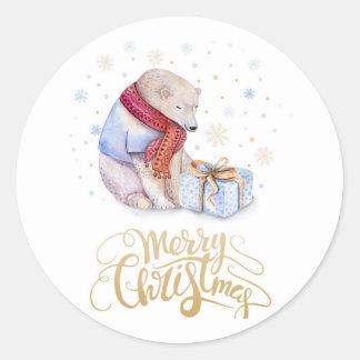 Sticker Rond Ours mignon d'autocollants de Noël