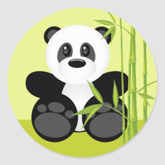 Sticker Rond Ours panda en bambou