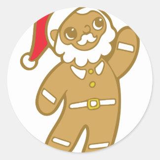 Sticker Rond Pain d'épice Père Noël