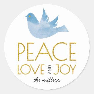 Sticker Rond Paix d'or, amour, Noël de colombe de bleu de joie