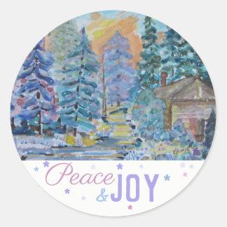 Sticker Rond Paix et joie - cabine dans la scène en bois (20)