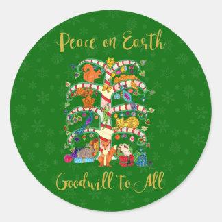 Sticker Rond Paix sur l'arbre animal mignon de la terre des