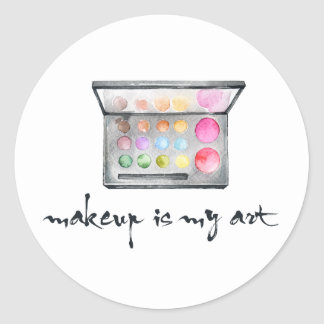 """Sticker Rond Palette de maquilleur - le """"maquillage est"""