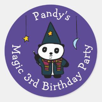 Sticker Rond Pandy personnalisé la fête d'anniversaire magique