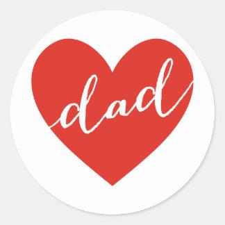 Sticker Rond Papa d'amour. fête des pères heureuse