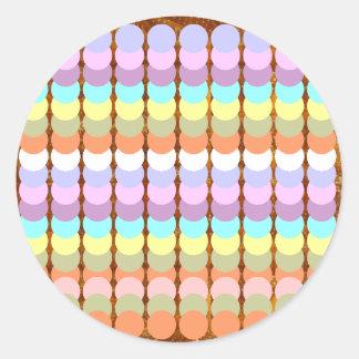 Sticker Rond Papercraft coloré : Patchwork de point de poinçon
