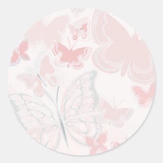 Sticker Rond Papillons roses pilotant l'aquarelle de papillon
