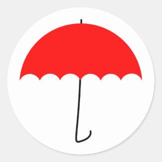 Sticker Rond Parapluie rouge