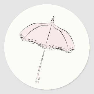 Sticker Rond Parasol rose