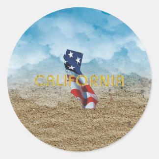 Sticker Rond Patriote de la Californie de PIÈCE EN T