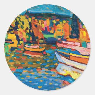 Sticker Rond Paysage d'automne avec des bateaux par Wassily