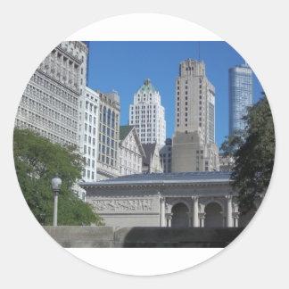 Sticker Rond Paysage urbain de Chicago