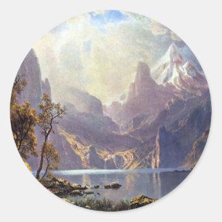Sticker Rond Paysage vintage, le lac Tahoe par Albert Bierstadt