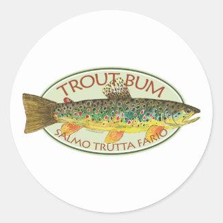 Sticker Rond Pêche à la ligne de pêche de mouche de truite de