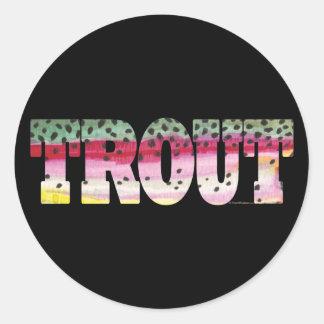 Sticker Rond Pêche de mouche de truite