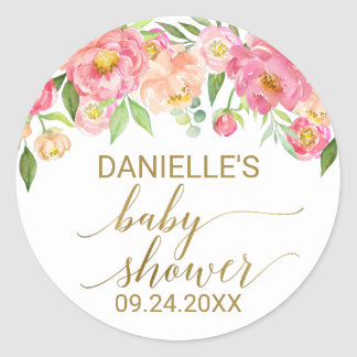 Sticker Rond Pêche et baby shower rose de fleurs de pivoine