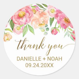 Sticker Rond Pêche et faveur rose de Merci de fleurs de pivoine