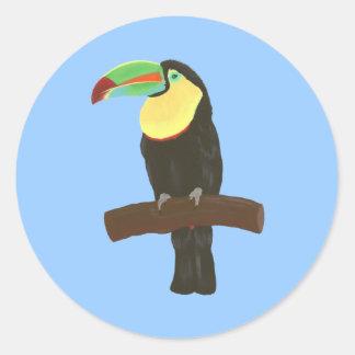 Sticker Rond Peinture colorée d'oiseau de toucan sur les