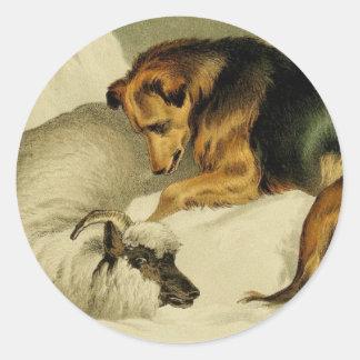 Sticker Rond Peinture vintage : Berger allemand dans la neige