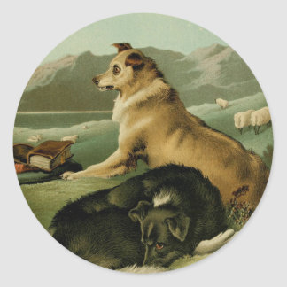 Sticker Rond Peinture vintage : Chiens de colley