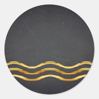 Sticker Rond Personnaliser incurvée barrée par or vide de