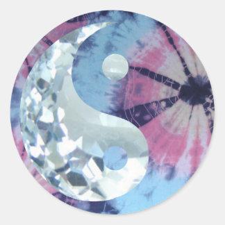 Sticker Rond Persuasion bleue en cristal Yin et Yang
