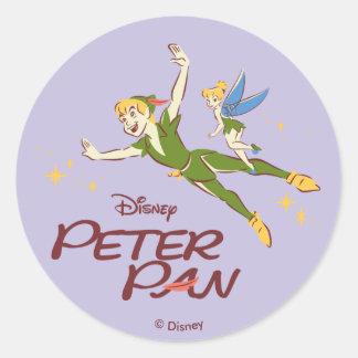 Sticker Rond Peter Pan et Tinkerbell