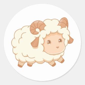 Sticker Rond Petite RAM mignonne de moutons