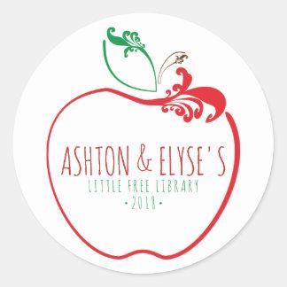 Sticker Rond peu de timbre de pomme de flourish de bibliothèque