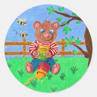 Sticker Rond Peu d'ours avec du miel badine autour des