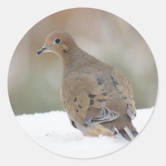 Sticker Rond Photo de deuil de colombe sur personnalisé autour