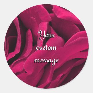 Sticker Rond Photo florale de roses roses fuchsia romantiques