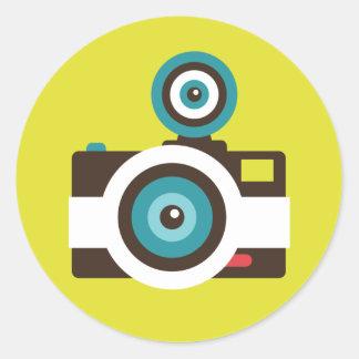 Sticker Rond Photographe coloré d'appareil-photo de FishEye