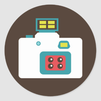Sticker Rond Photographe coloré d'appareil-photo de l'action S