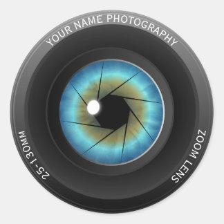 Sticker Rond Photographe nommé fait sur commande frais