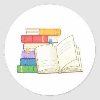 Sticker Rond Pile des livres et du livre ouvert