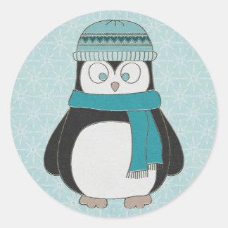 Sticker Rond Pingouin d'amusement d'hiver