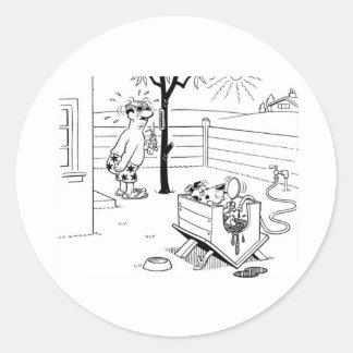 Sticker Rond Piscine de chien