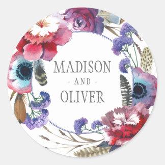 Sticker Rond Pivoine de fleur sauvage florale avec des plumes |