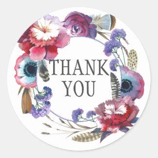 Sticker Rond Pivoine de fleur sauvage florale avec le Merci des