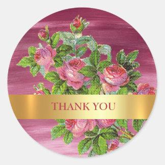 Sticker Rond Pivoine vintage de Merci épousant l'aquarelle rose