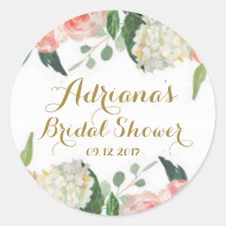 Sticker Rond Pivoines florales d'aquarelle